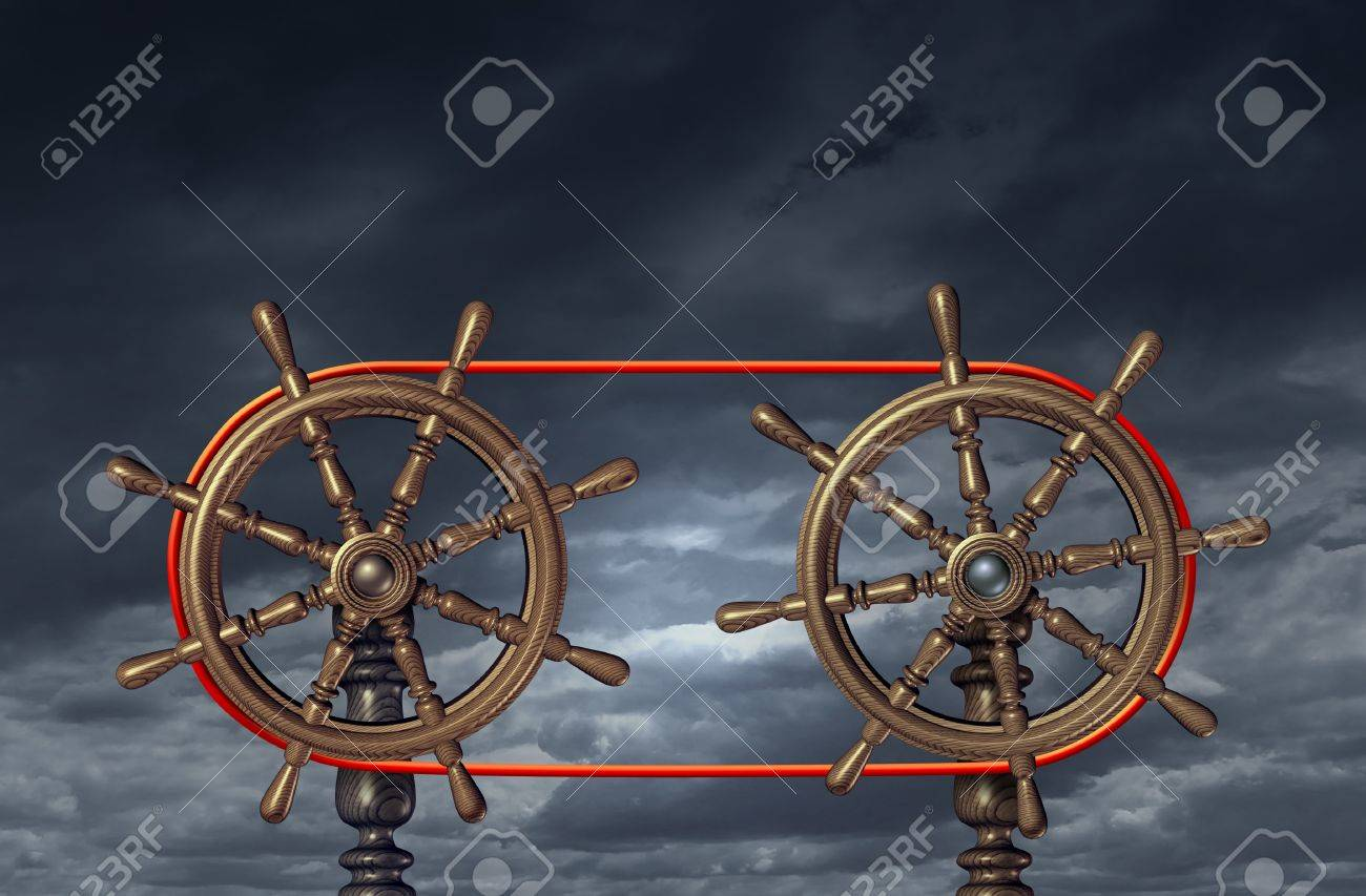 Team leadership and business relationship based on a mutual agreement on collaborating and  partnership vision with two ship wheels connected with a red rope Stock Photo - 16559286