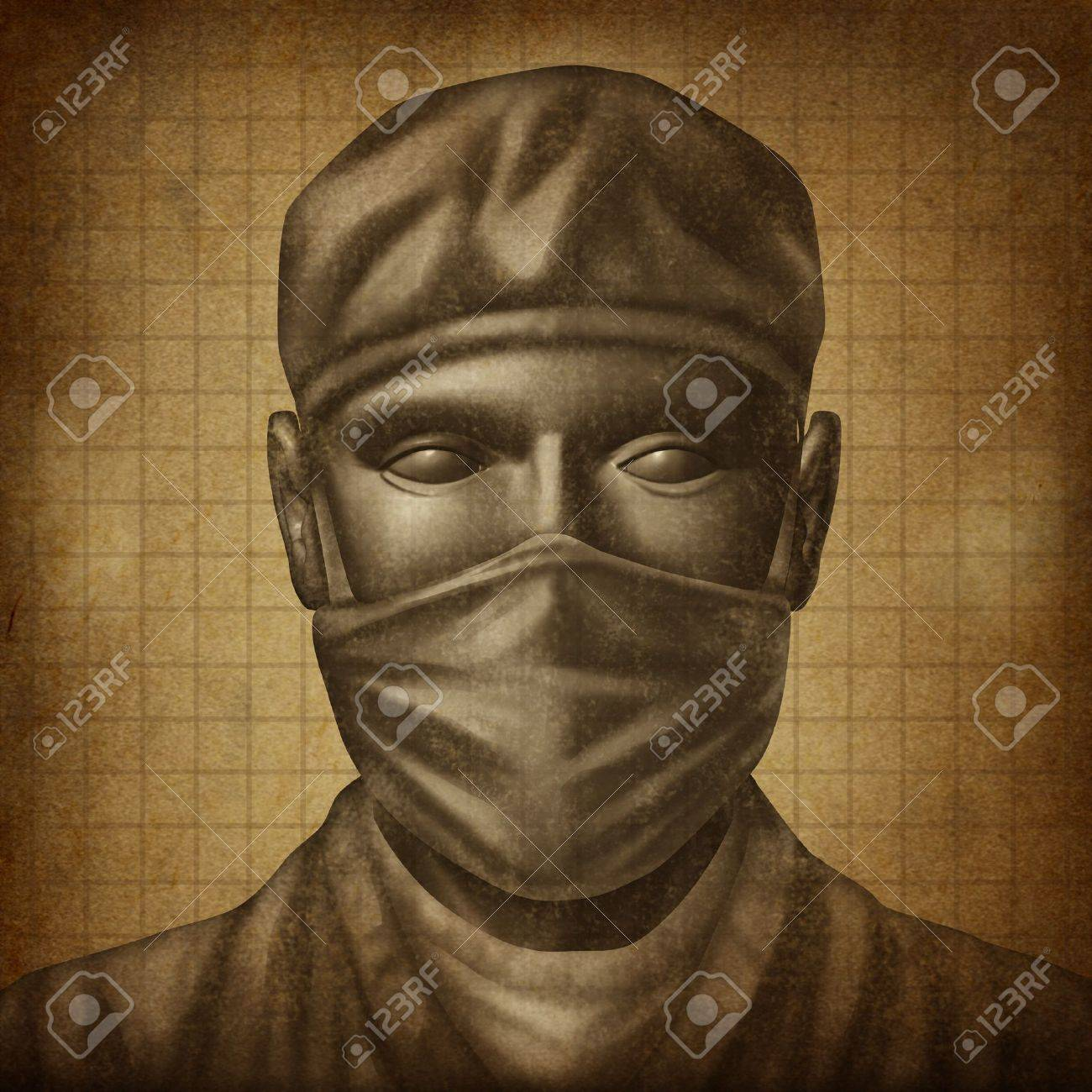 Doctor with a surgical Mask on an old grunge texture as a health care concept for medical emergency surgery and physician specialist in hospital services Stock Photo - 16689649