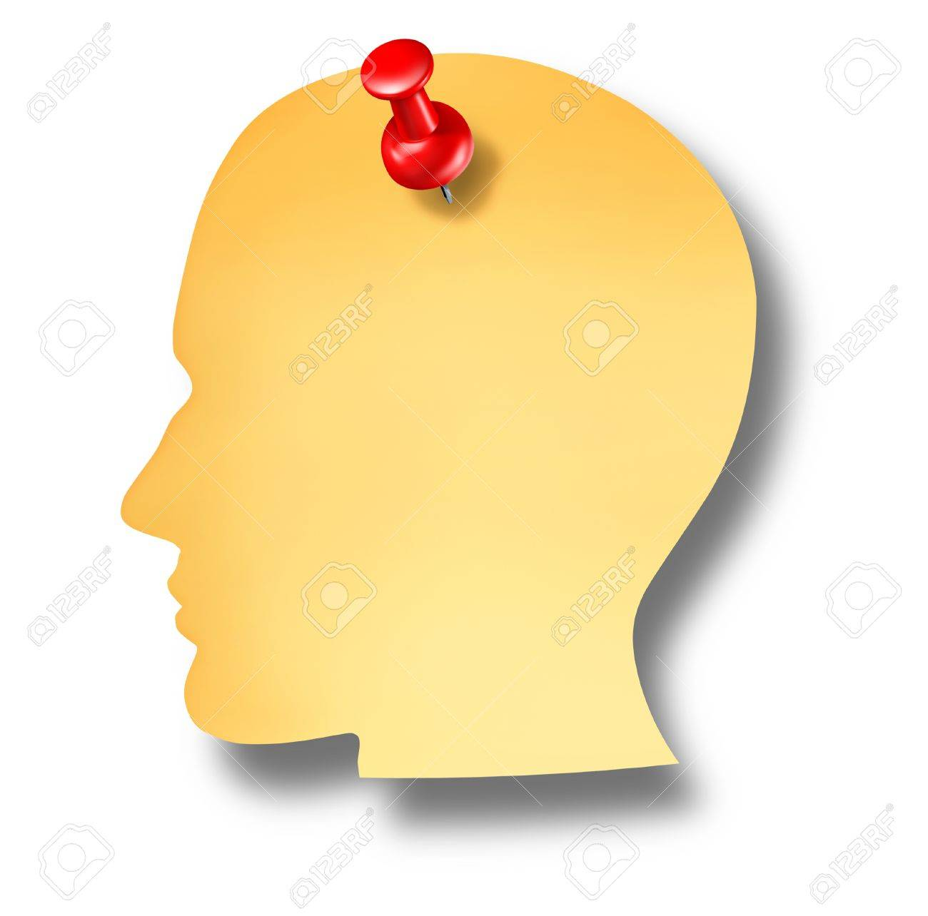 Head notes with a blank yellow paper note and a red thumb tack pin as a health care dementia symbol of memories and a business reminder as a to do list Stock Photo - 16689720