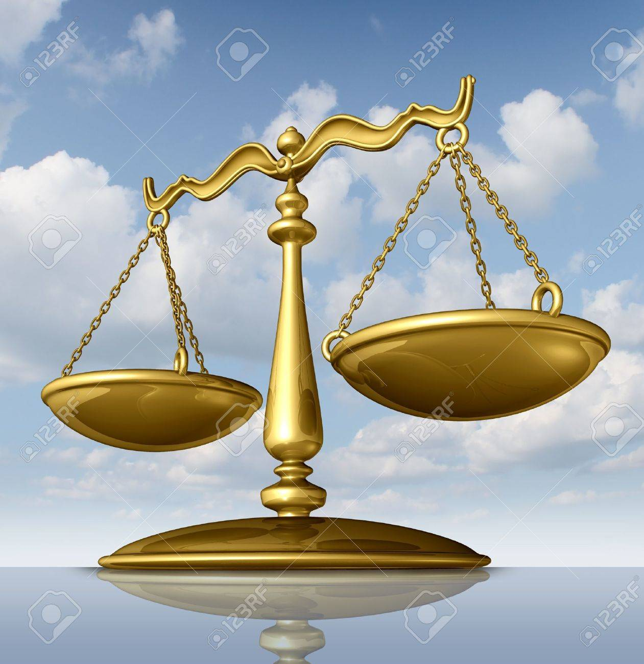 Justice Scale Of Law Made Of Chrome Metal On A Sky Background As A