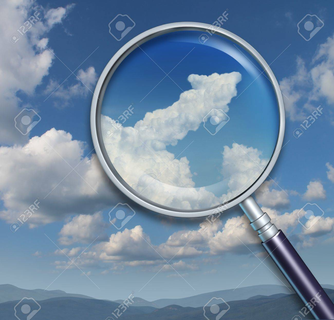 Search for opportunity and discovery of chances for business success with a visionary ability as a magnifying glass on a sky with an upward arrow shaped cloud Stock Photo - 16689646