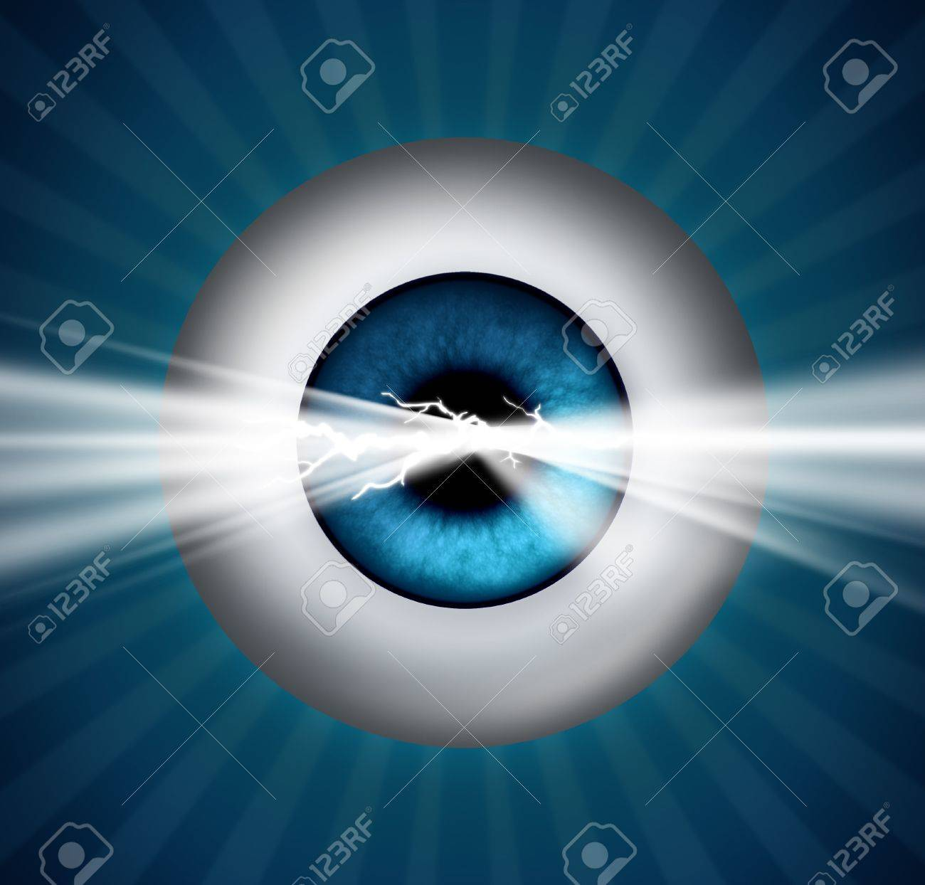 Visionary and foresight into the future and insight to creativity and innovation through education and business strategy with a human eye ball and a glowing light breaking out Stock Photo - 16689643