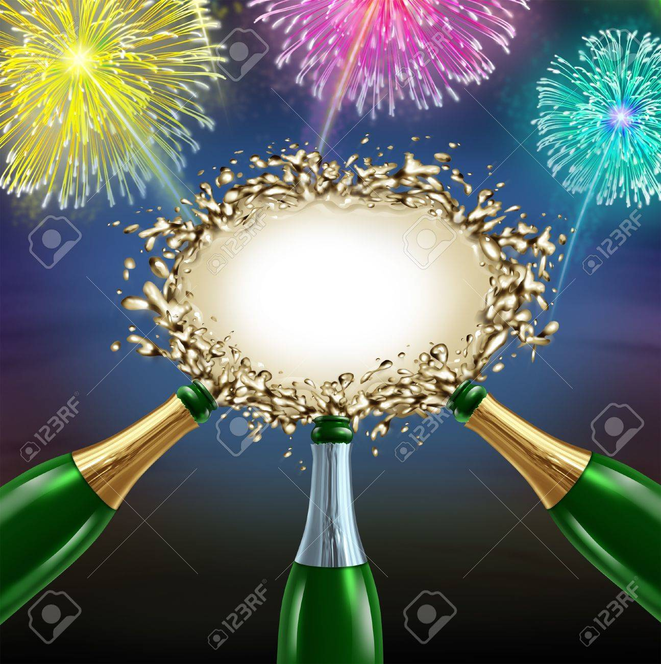 Celebrating message with uncorked exploding champagne bottles splashing sparkling wine into the center as a shape of a blank sign with fireworks for an important happy fun celebration communication Stock Photo - 16831824