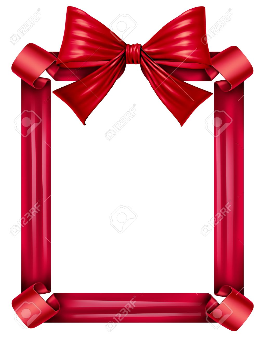 Red Silk Ribbon And Bow As A Frame For A Seasonal Decoration Stock