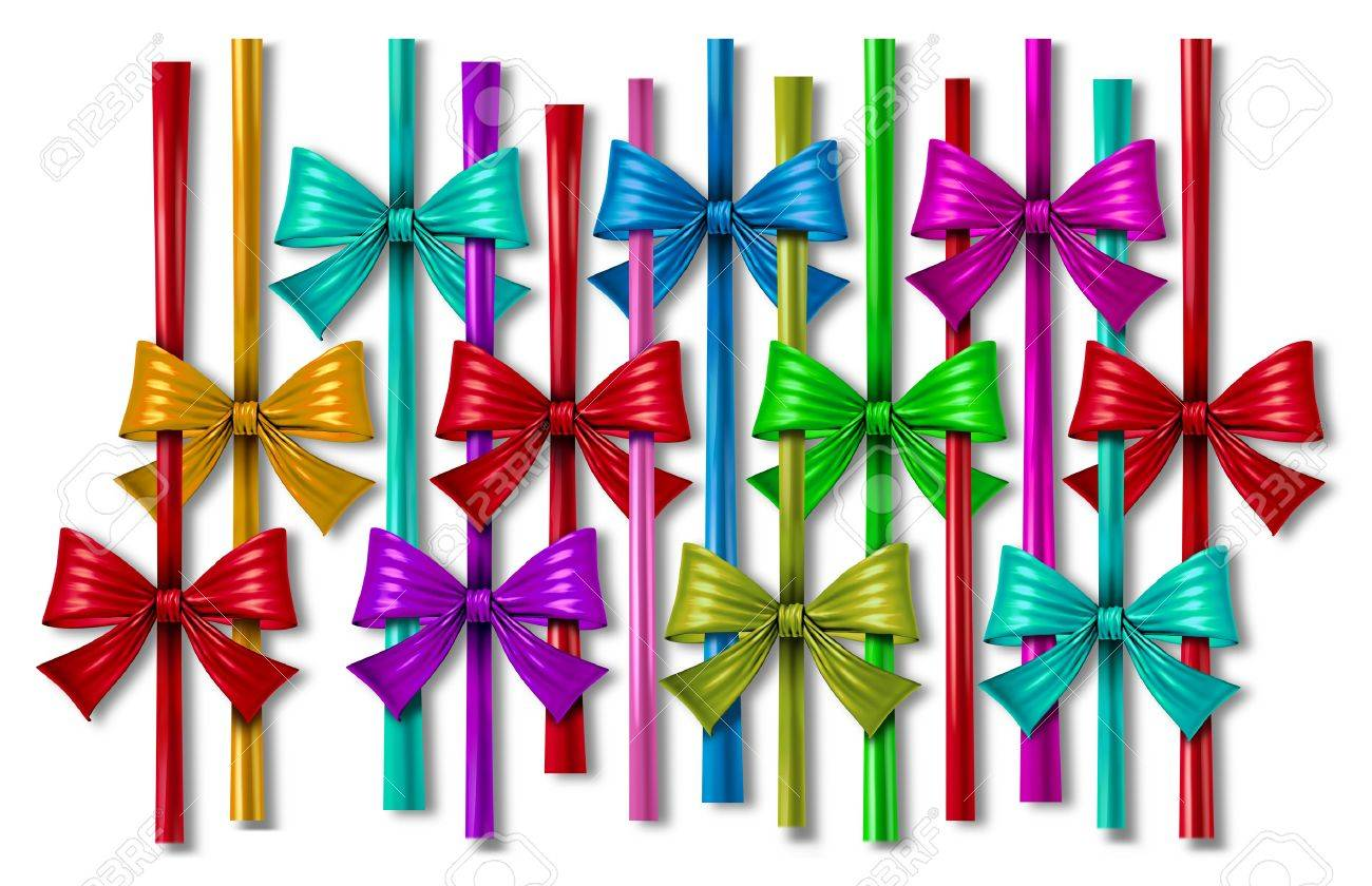 Ribbon Bow Design Element With A Pattern Of Silk Decorative Color