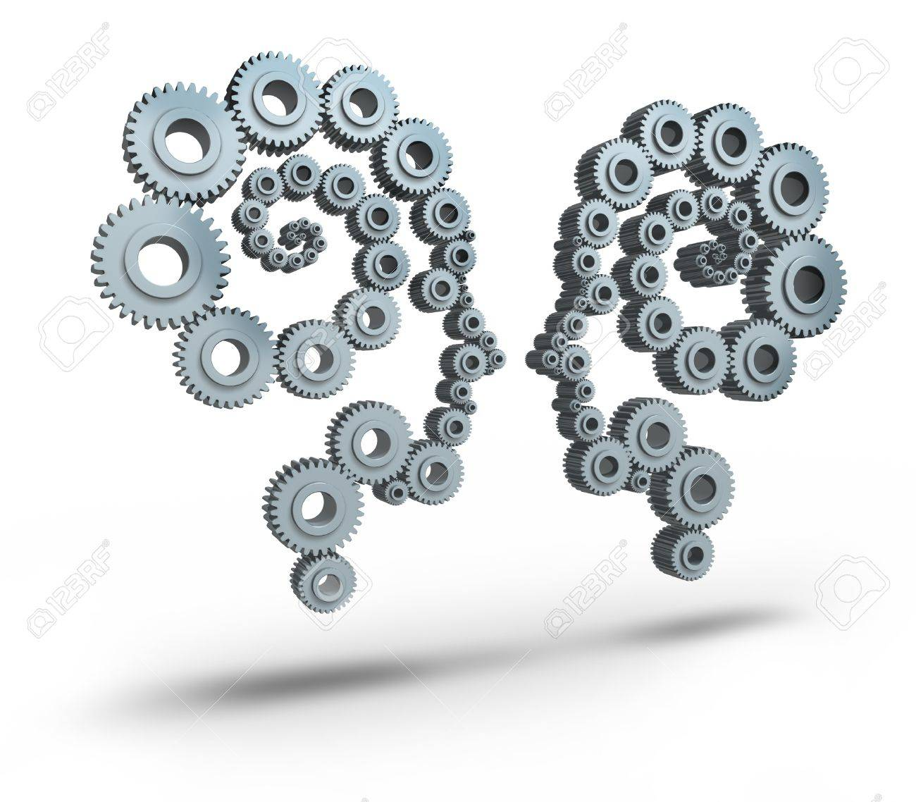 Communication industry and business networking technologies with two groups of gears and cogs in the shape a a human head face to face as a team partnership for success Stock Photo - 16920763