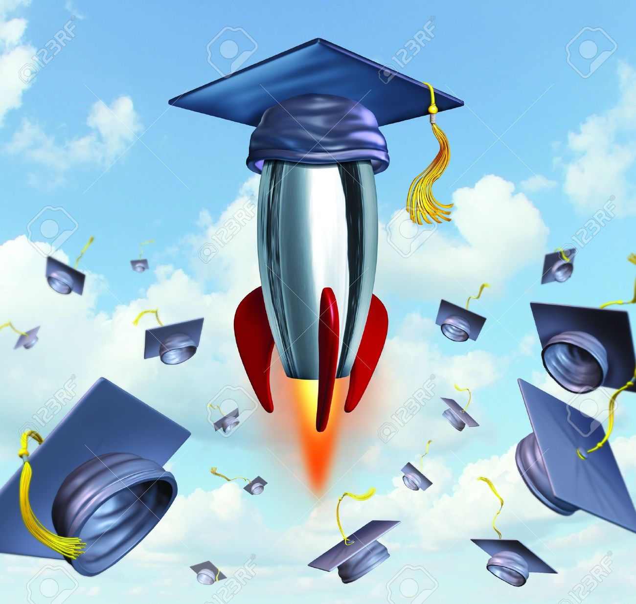 Education success with graduation hats thrown in the air as a celebration with a leading mortar board blasting off into the air in a rocket against a traditional hat toss for the graduate university and college students Stock Photo - 17032206