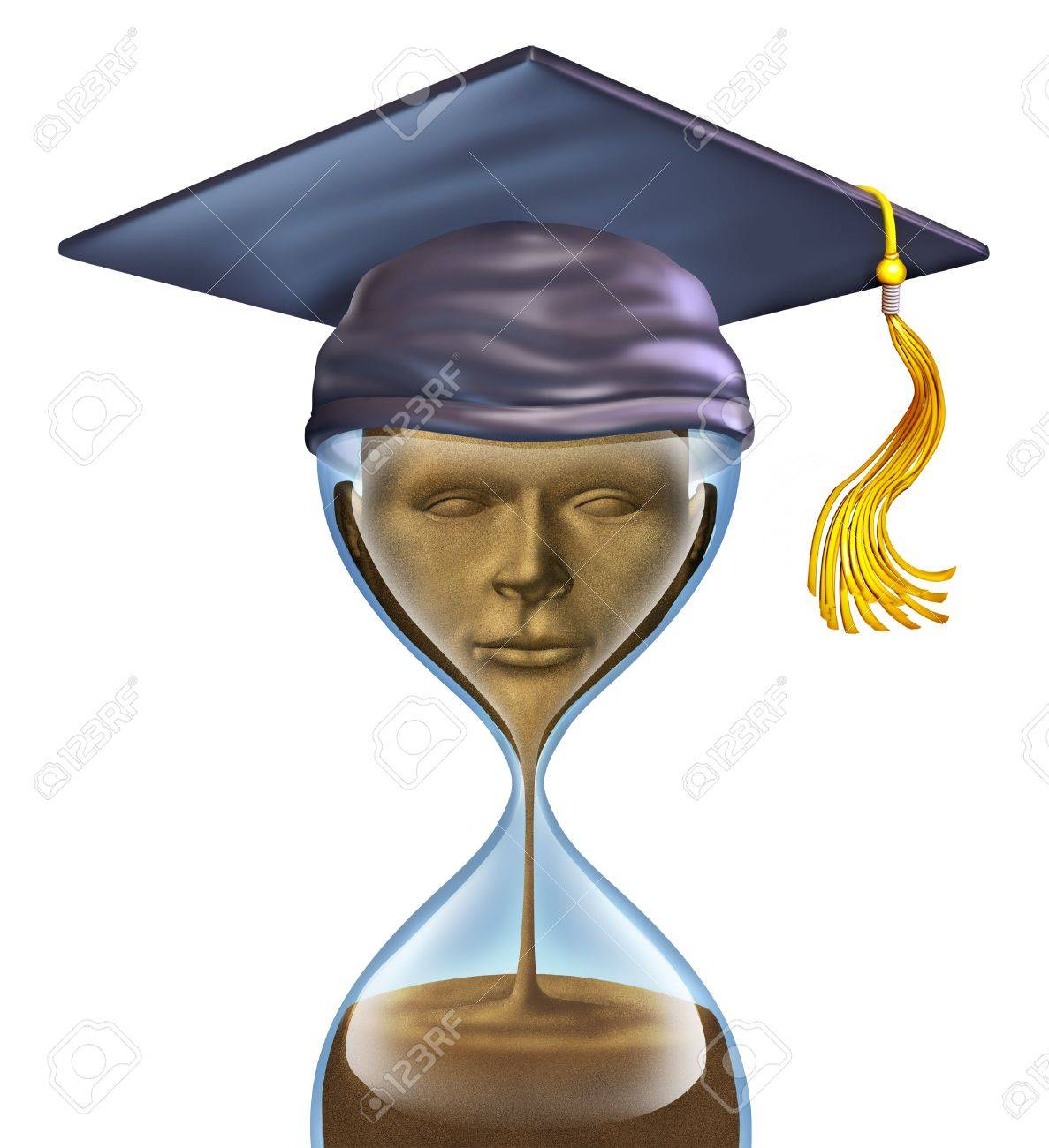 Graduation Countdown With A Mortar Cap On Top Of An Hour Glass