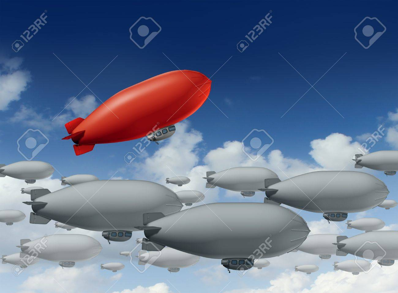 Standing out from the crowd with a group of grey blimps going in a straight direction and a leading red blimp going up as a special visionary individual with a success strategy on a sky Stock Photo - 17229323
