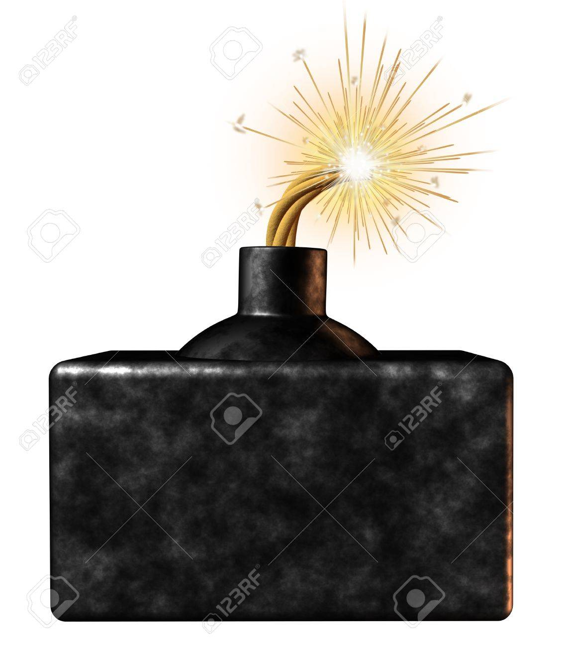 Explosive blank bomb sign with an ignited burning dangerous weapon device on the verge of exploding as an urgent limited time announcement advertisement for important time sensitive message on a white background Stock Photo - 17335527