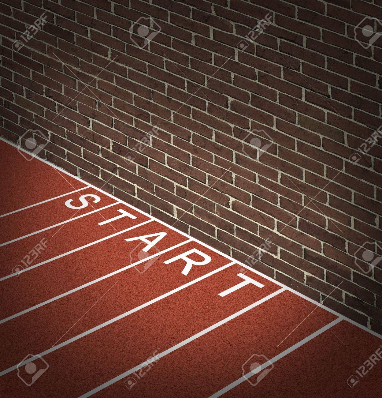 New business problems as unaccessible closed opportunities and no access to financial oppotunities as a track and field race track start position with a brick wall blocking the way forward Stock Photo - 17335544