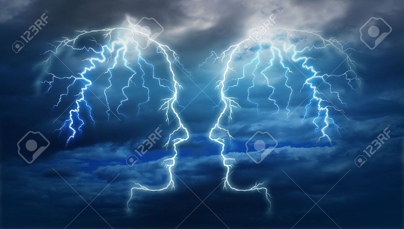 Power meeting and team ideas as a group of two electric lightning bolt strikes in the shape of a human head illuminated on a storm cloud night sky as an intelligent partnership Stock Photo - 17335531
