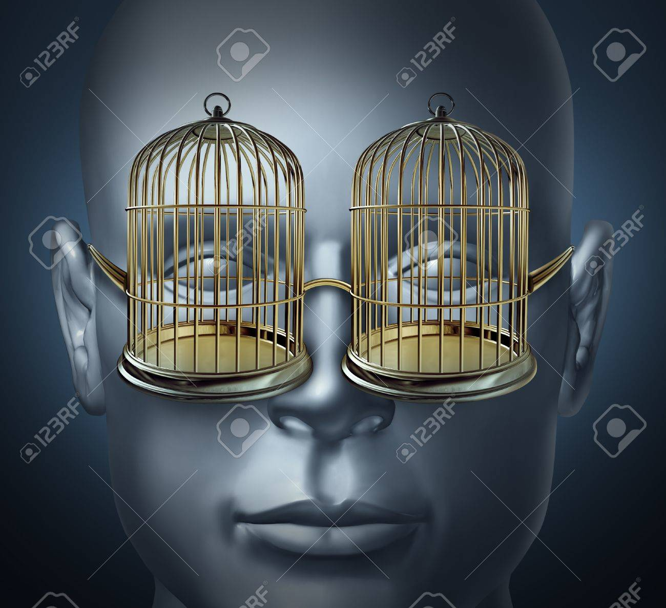 bird cage prison shaped eye glasses as symbols of being imprisoned and trapped Stock Photo - 17472609