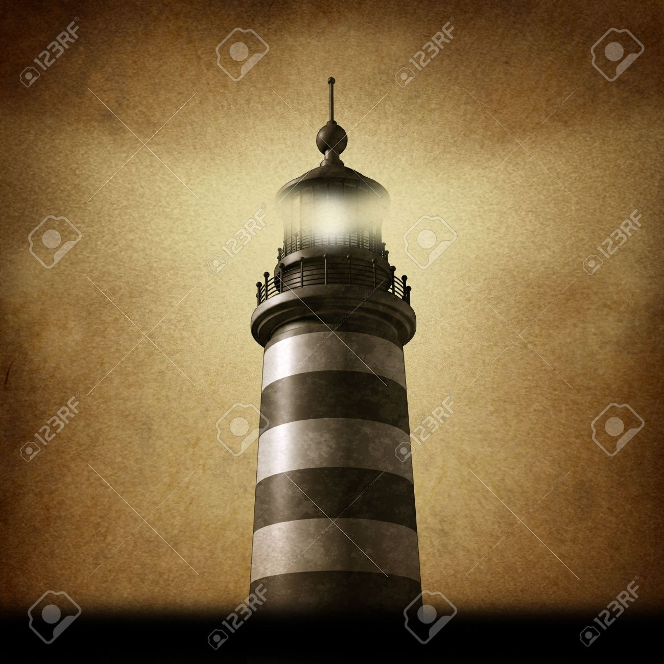 Lighthouse on an old grunge parchment texture clearing the path as a strategic guidance symbol with a beaming directional light as a business concept for the way forward with a high tower for a financial venture Stock Photo - 17472615