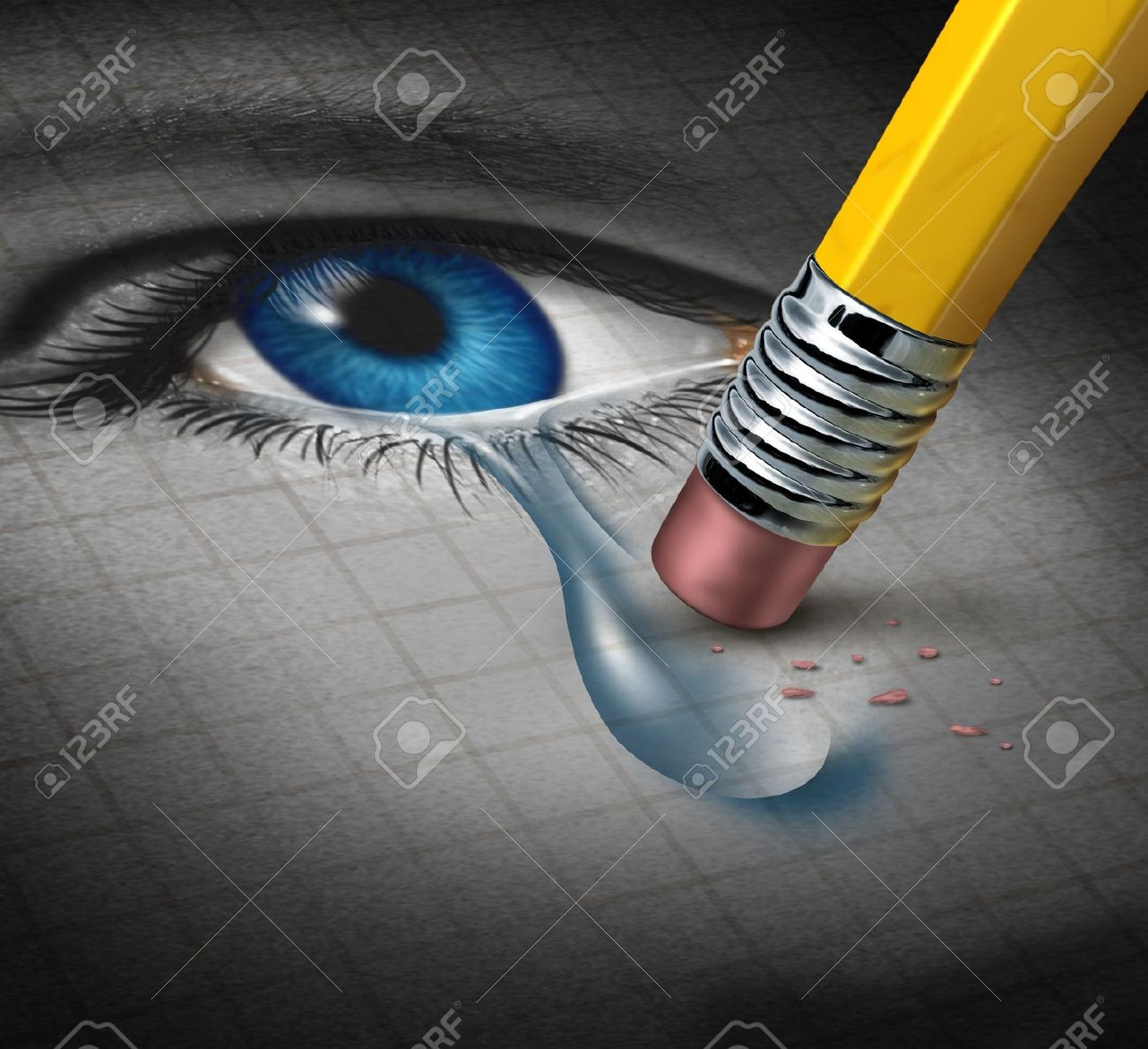 Depression Relief and conquering mental adversity with a pencil eraser removing a tear drop from a close up of a human face and eye as a concept of emotional support and therapy - 17811635