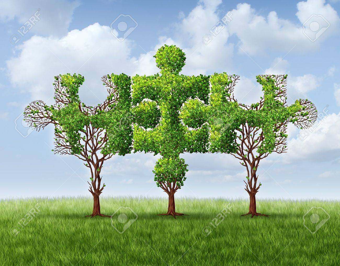 Growing network connection with a group of three trees in the shape of jigsaw puzzle pieces united and meeting together to form a strong stable financial team and business partnership based on trust Stock Photo - 17811644