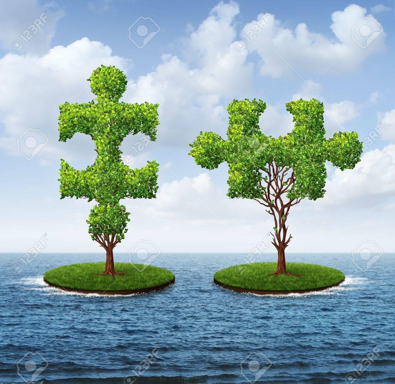 Crecimiento Conexión Con Dos árboles En Forma De Piezas De ...