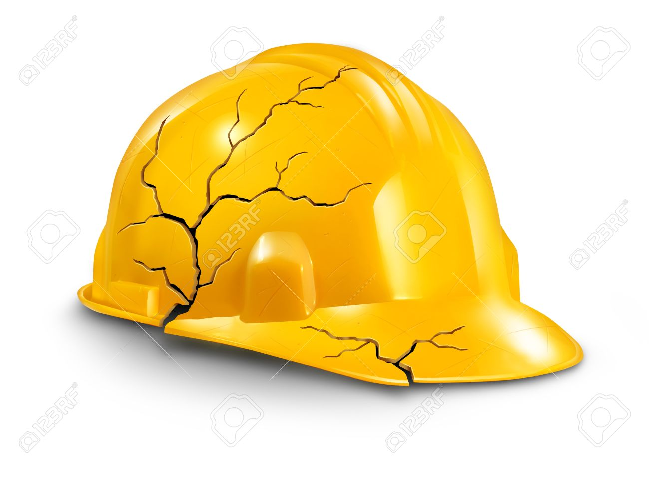 Work accident and health hazards on the job as a broken cracked yellow hardhat helmet as a symbol of working injury and insurance claims from physical damage and pain to the worker Stock Photo - 17811632