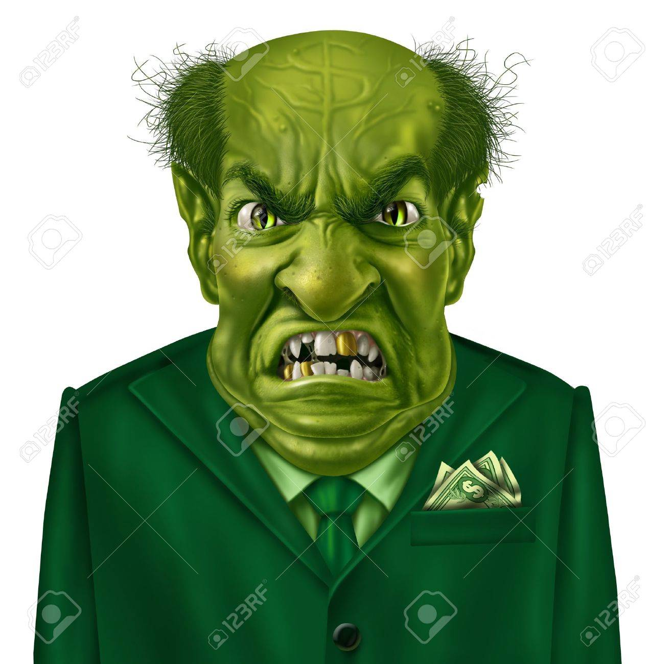 Selfish greed as a green business boss character with a suit and dollar sign on his forehead representing the concept of selfishness and greedy financial behavior Stock Photo - 17811888