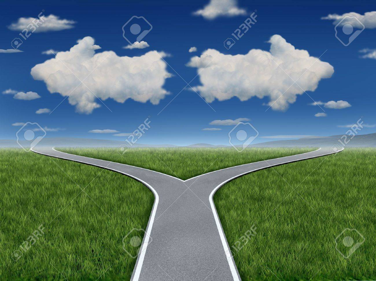 Decision Inspiration as a group of clouds in the shape of an arrow sign pointing in opposite paths as a business dilemma symbol of a crossroads concept - 17997217