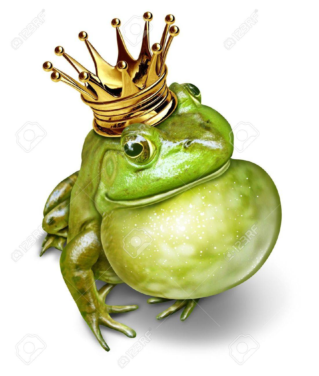 Frog prince with gold crown and an inflated throat representing the fairy tale concept of communication change and transformation from an amphibian to royalty - 17997204