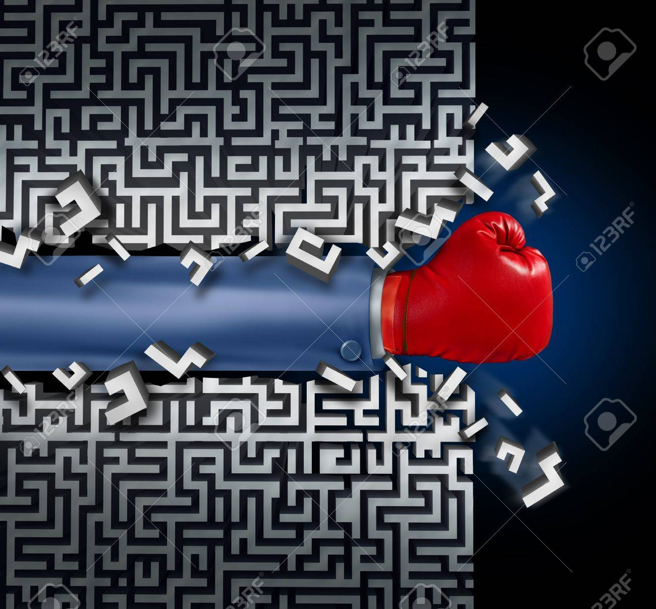 Breaking out leadership and business vision with strategy in corporate challenges and obstacles in a maze with a business man arm with a red boxing glove clearing a path in a labyrinth with a clear solution shortcut for success Stock Photo - 18122524