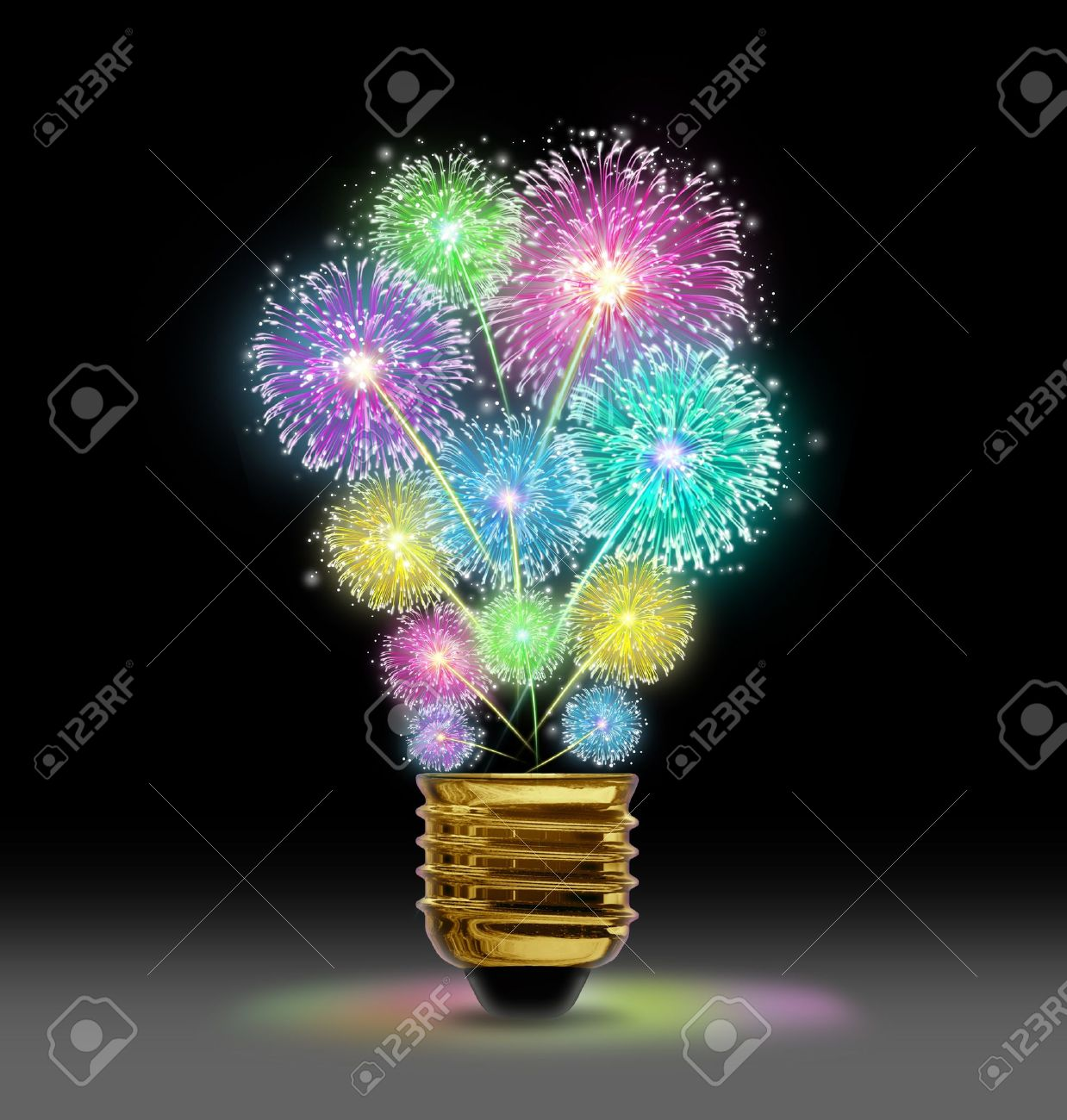 Creative Explosion as a fireworks display celebration represented by exploding sparks of color in the shape of a light bulb on black as a concept of innovation and creative power Stock Photo - 18122528