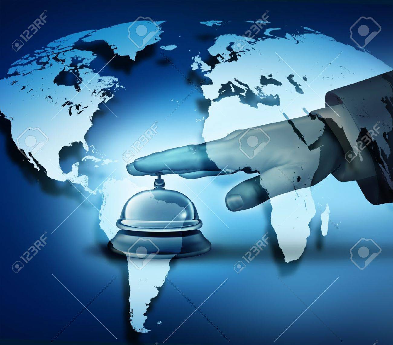 Global hotel service concept with a human hand ringing a bell on a blue world map background as a hotel symbol of first class international hospitality service Stock Photo - 18283446