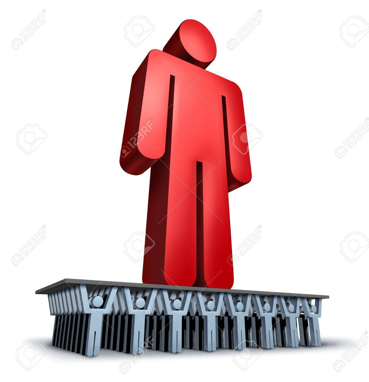 Group Support business concept with a giant red leader person being lifted and moved forward in solidarity by a loyal team of cooperating individuals for a strong organization Stock Photo - 18410793