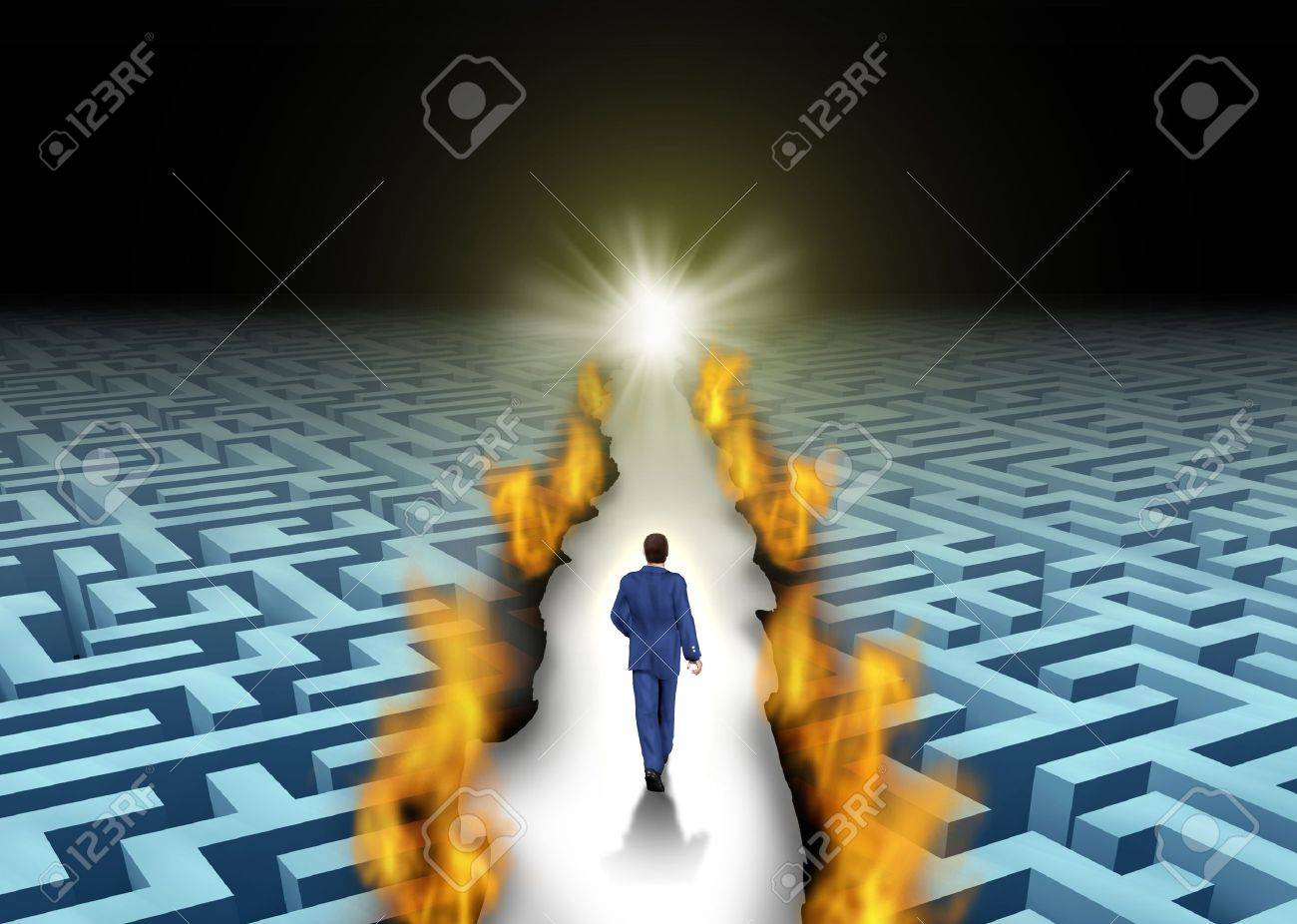 Innovative leadership and trail blazing or trailblazing business concept with a businessman walking through a maze or labyrinth that is open due to a burning path as a symbol of creative solutions Stock Photo - 18410803