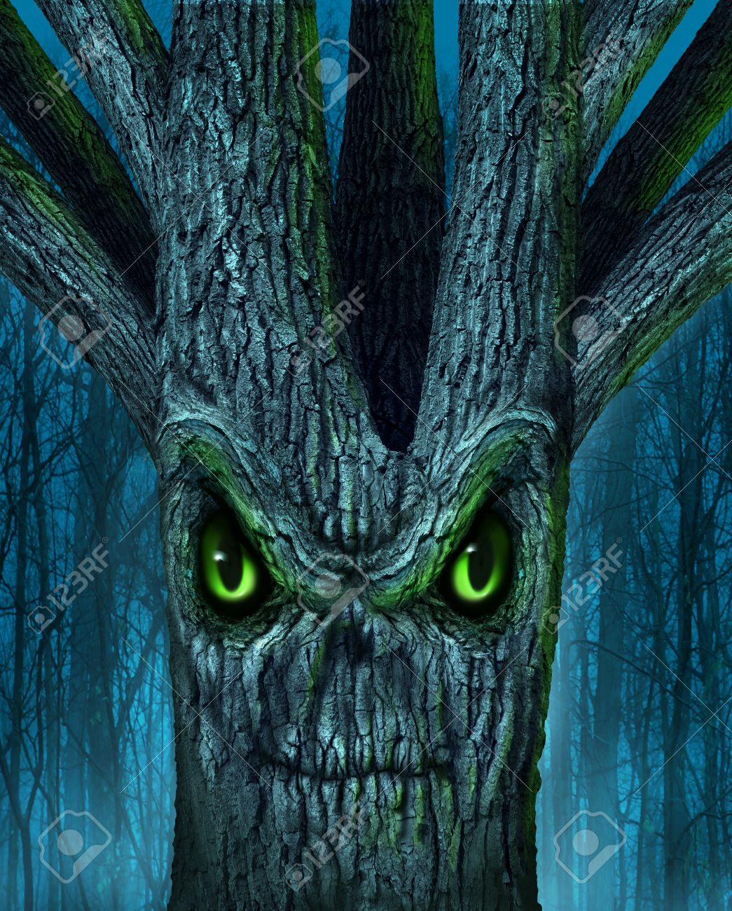 haunted tree with a mythical dark forest and an evil plant shaped