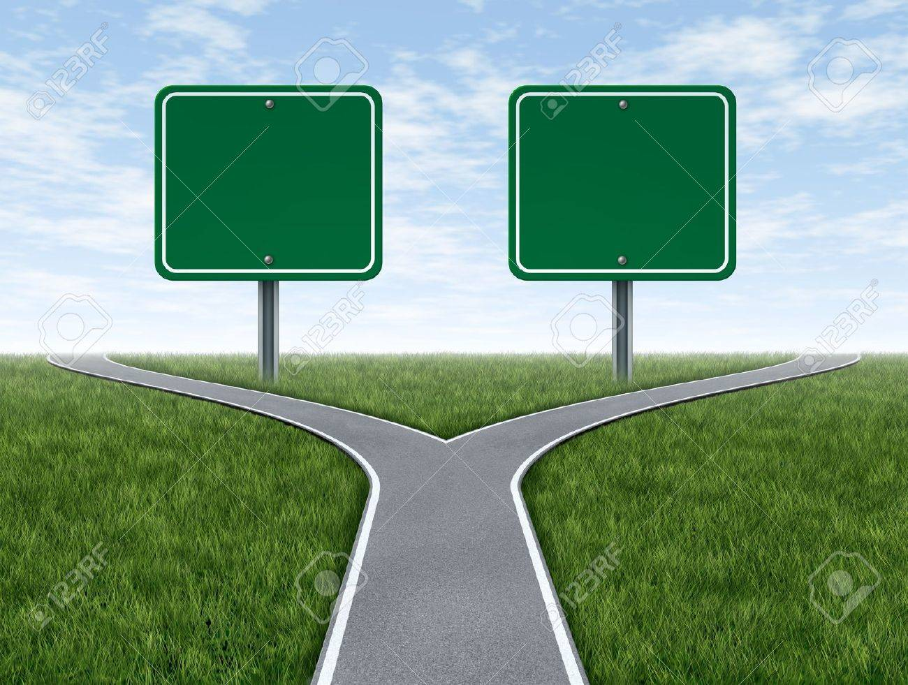 Cross roads with two blank road signs for copy space as a business concept and strategy symbol representing the difficult choices and challenges when selecting the right strategic path for financial planning - 18982392