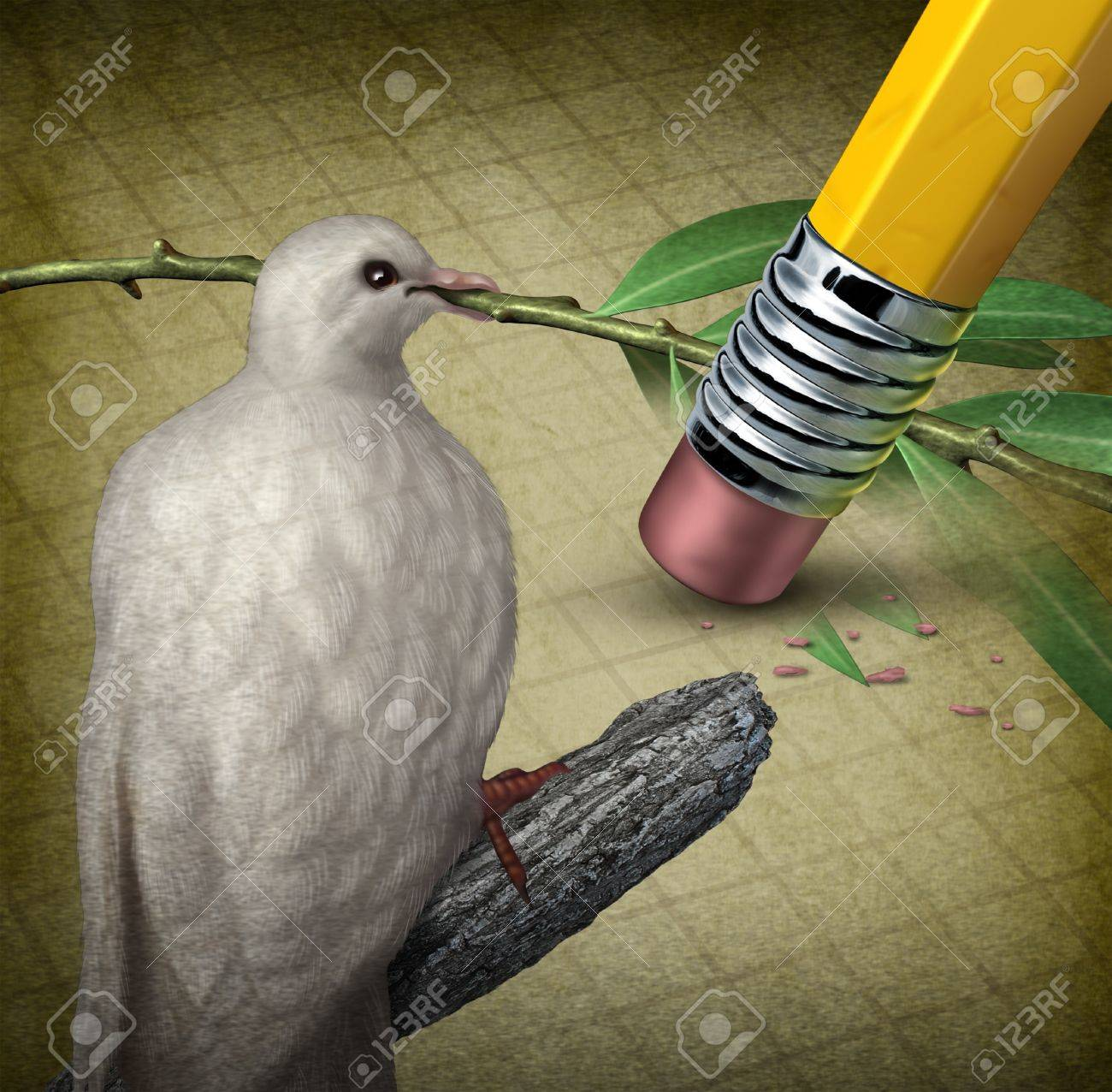 Losing Peace Crisis Concept With A White Dove Holding An Olive