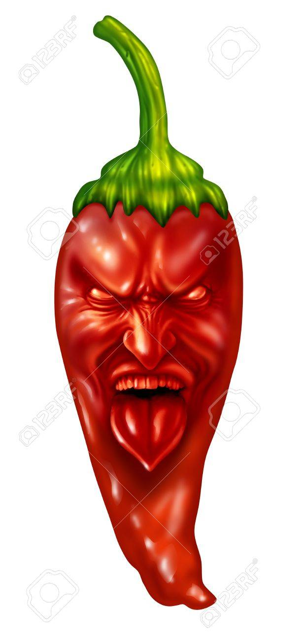 Hot pepper and extreme intense spicy flavor food symbol with a character expression on a red chili as southern and mexican cuisine or Indian cooking concept isolated on a white background Stock Photo - 19098550