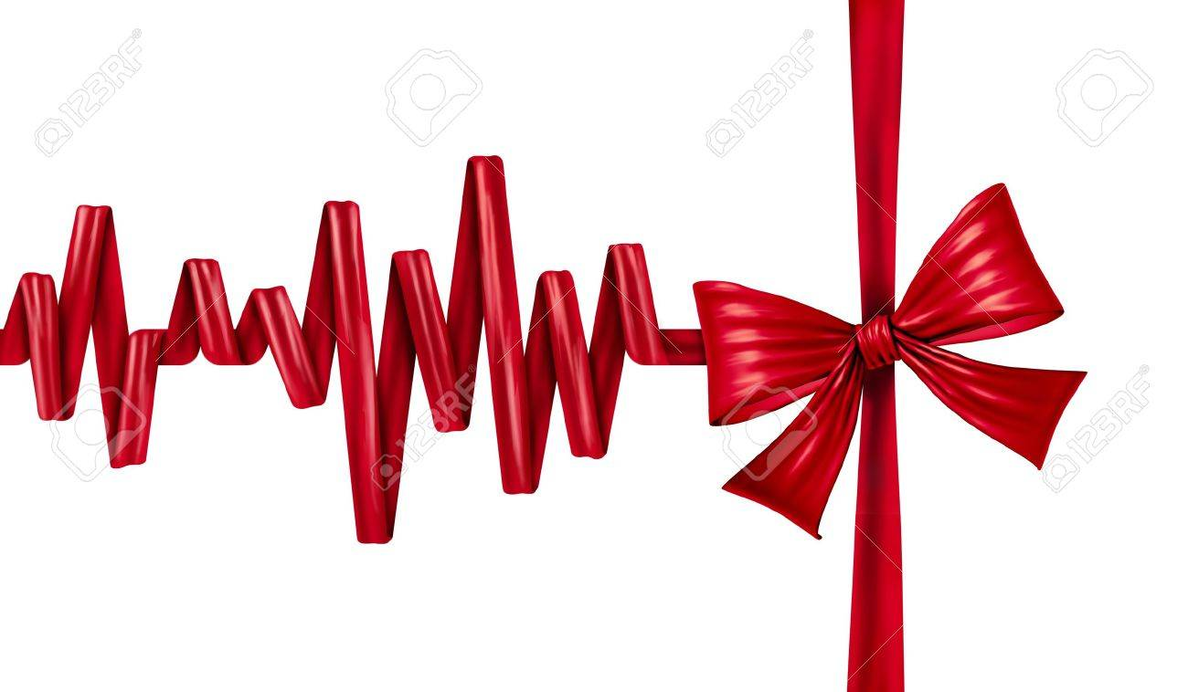 Medical life gift as in blood donation or organ donor program as a health care award symbol with a red silk ribbon and bow in the form of an ECG life line on an isolated white background Stock Photo - 19098545