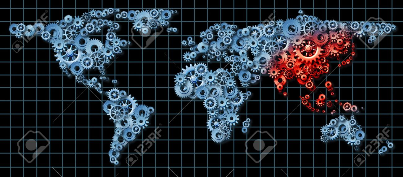 Asia economy and asian economic activity as a business concept asia economy and asian economic activity as a business concept with a world map made of gumiabroncs Choice Image