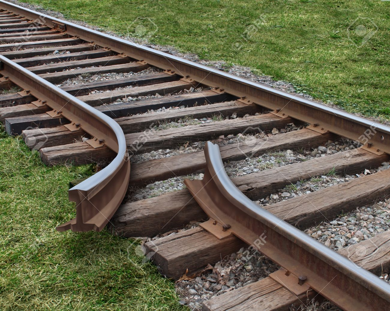 Strategy obstruction challenges with a train track that is broken as a business concept of a road block and finding solutions to obstacles that are dangerous and challenging as  journey on a strategic goal Stock Photo - 19446915