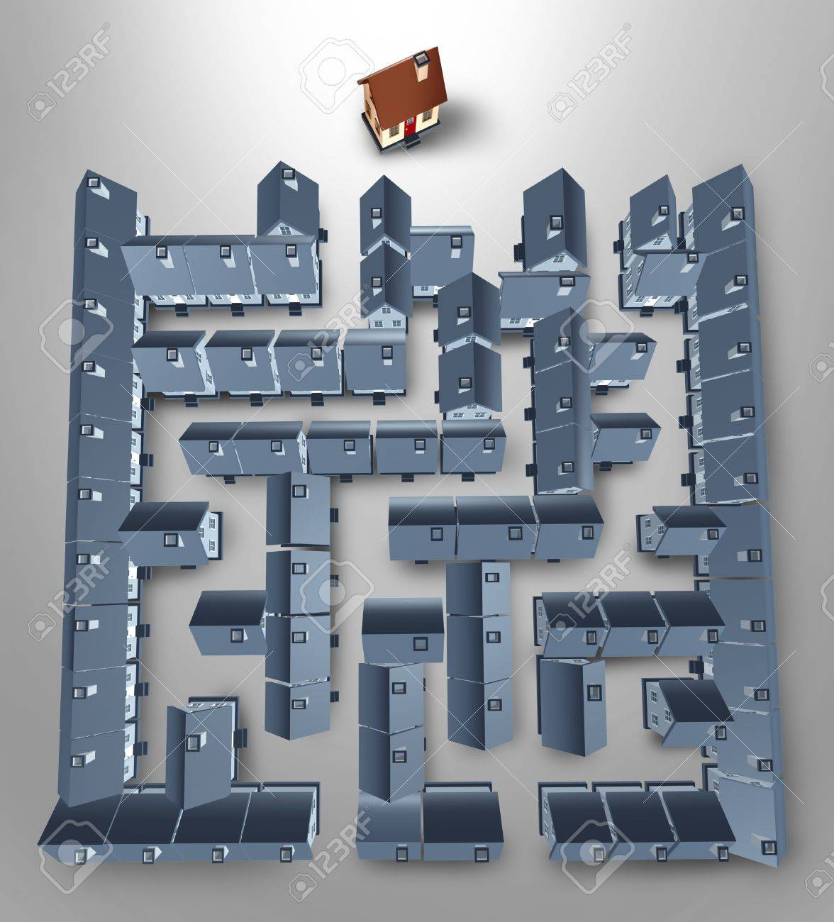 Home search and solutions as a real estate concept with a maze or labyrinth made of a group of grey homes and a perfect family house at the end of the puzzle as a result of residential advice Stock Photo - 19446959