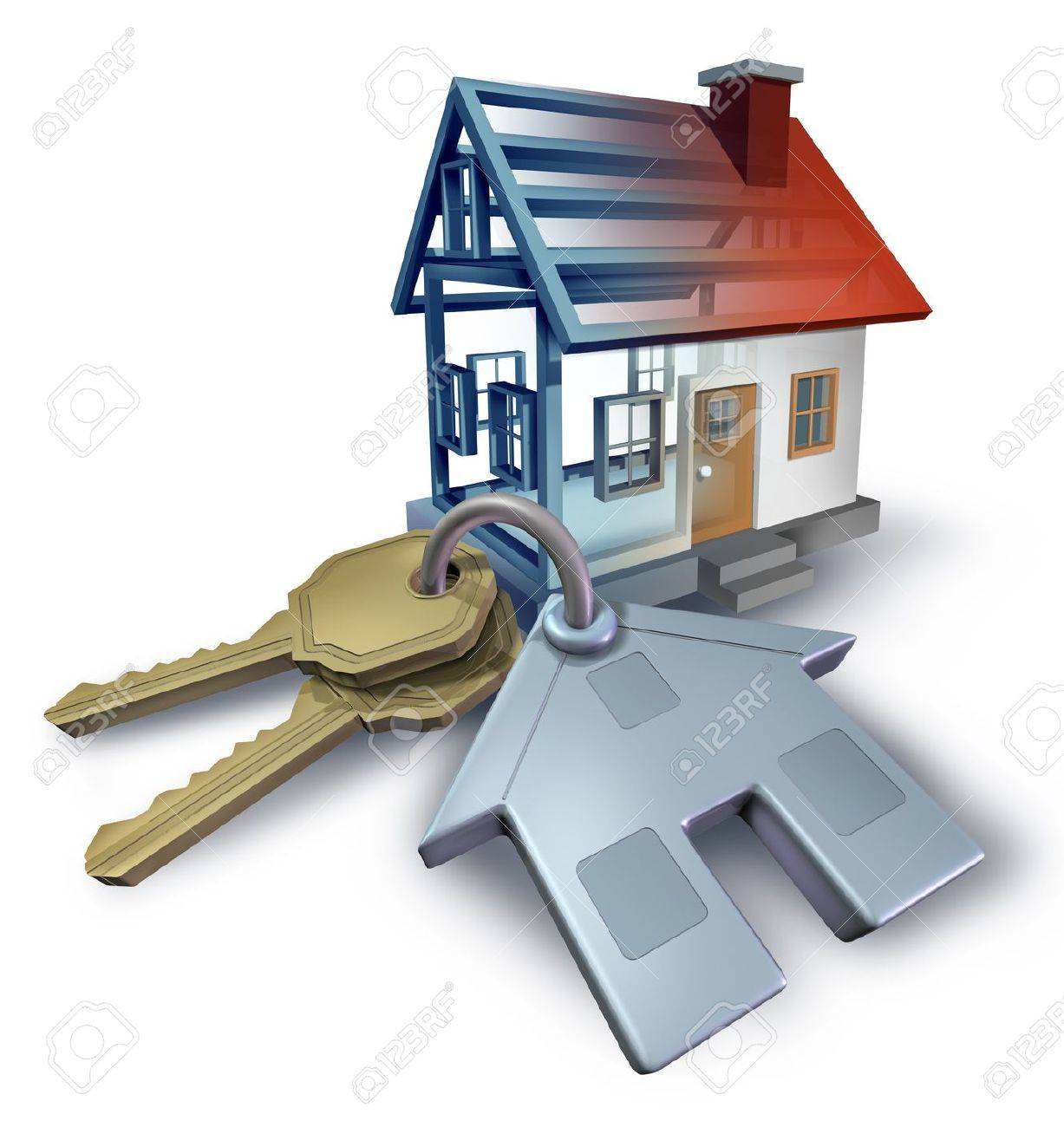 Real estate planning and building a home from blue print plans with house keys and a three dimensional residential structure on a white background Stock Photo - 19446940