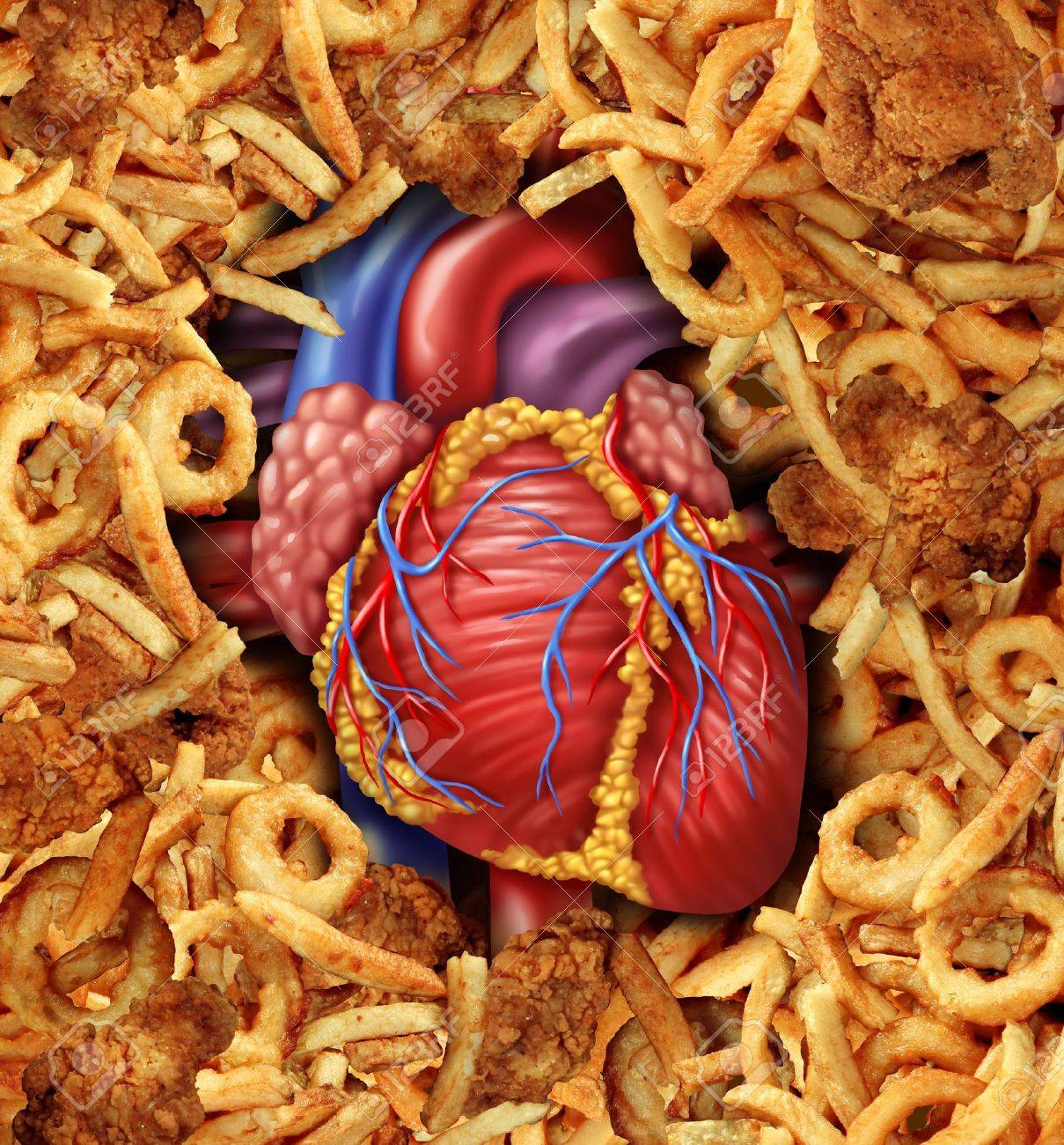 Heart Disease Food Medical Health Care Concept With A Human Heart