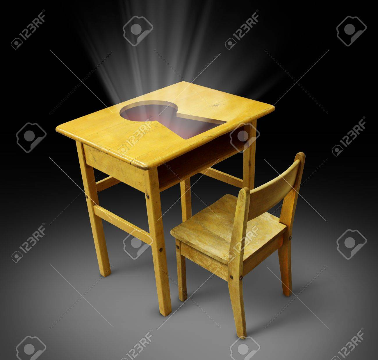 Key To Education Concept With An Old School Desk And Student