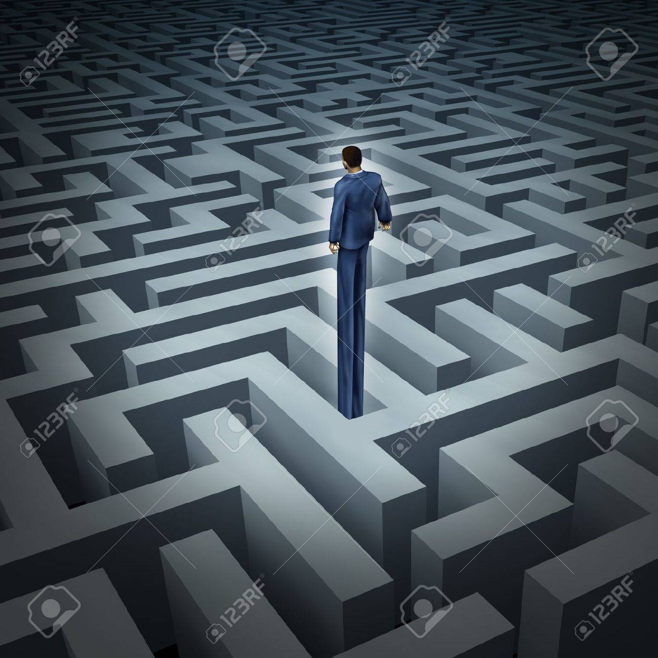 New leadership vision for finding solutions with a businessman who has grown long legs to see above through a complicated maze or labyrinth as a business concept of innovative thinking for financial success Stock Photo - 19703982