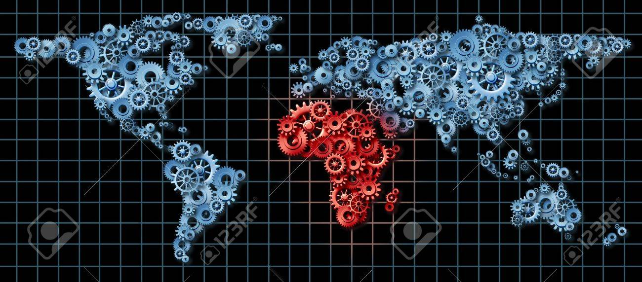 Africa economy activity as a business concept with a world map africa economy activity as a business concept with a world map made of gears and cogs gumiabroncs Image collections