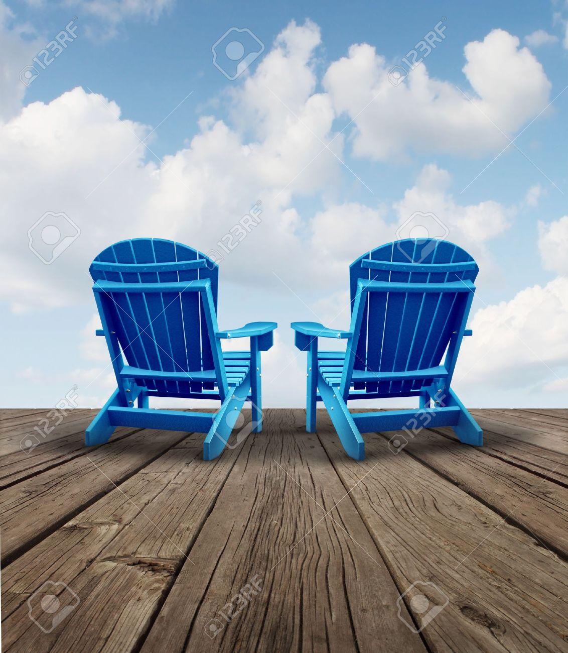 Pensionamento relax e pianificazione finanziaria simbolo con due ...