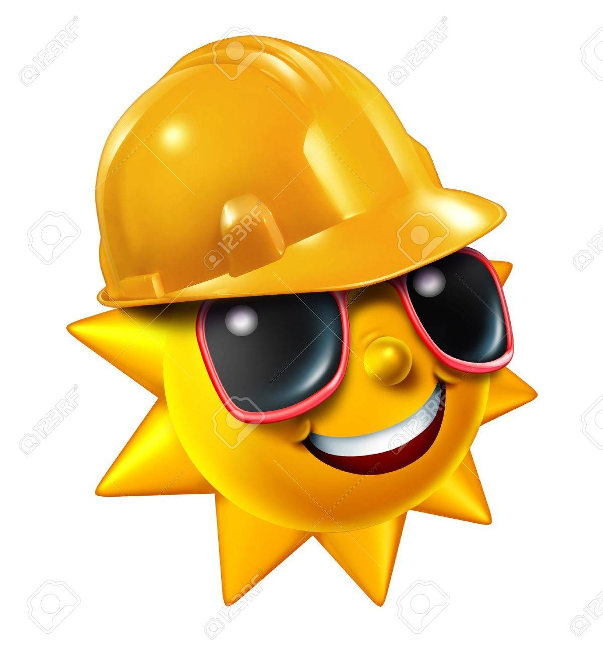 summer construction and renovation work projects in the hot season stock photo summer construction and renovation work projects in the hot season as a happy sun character sunglasses wearing a yellow worker protective