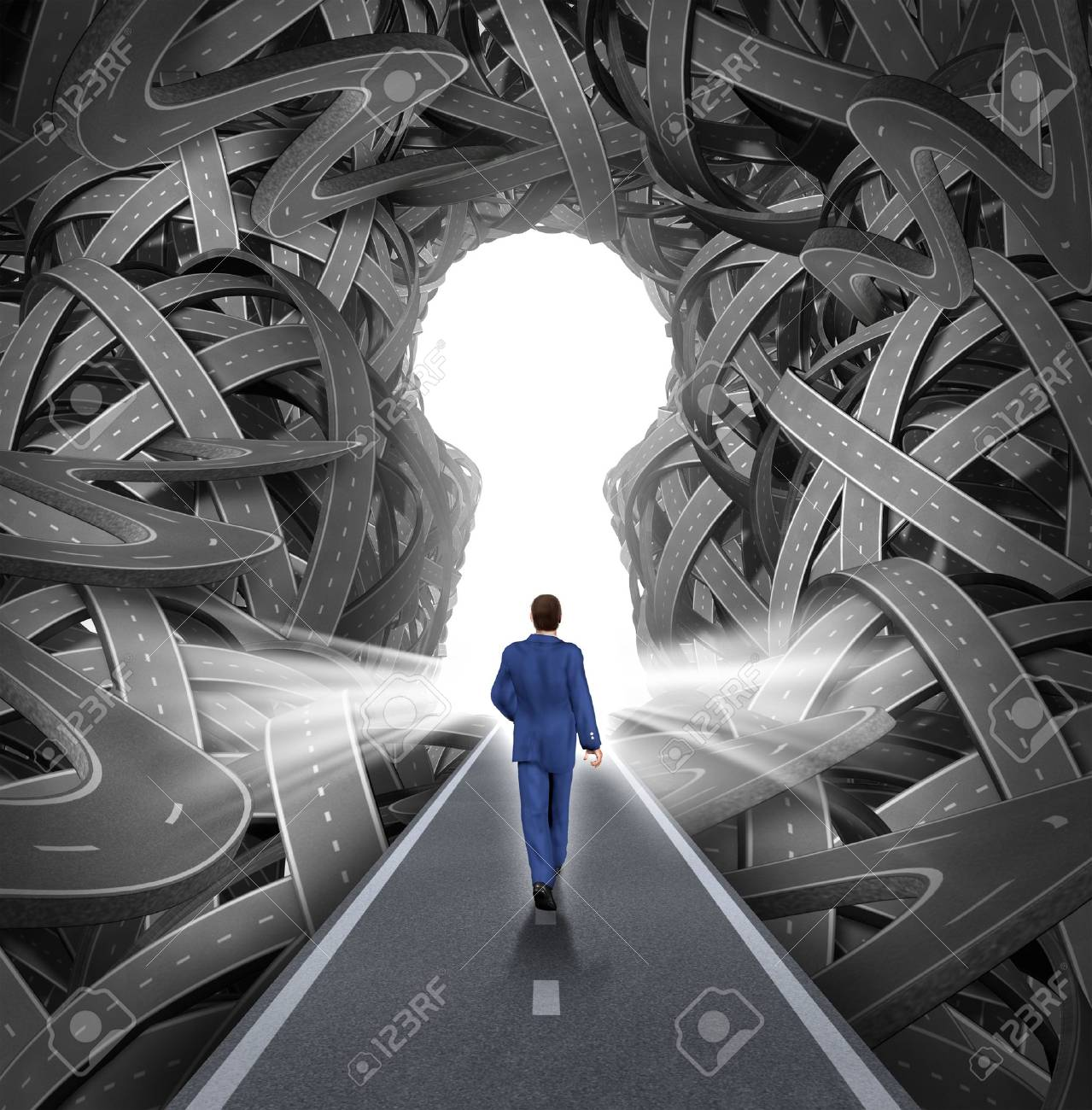 Direction solutions as a business leadership concept with a businessman walking to a glowing key hole shape opening as a straight path to success choosing the right strategic path cutting through a confused maze of tangled roads and highways Stock Photo - 20386514