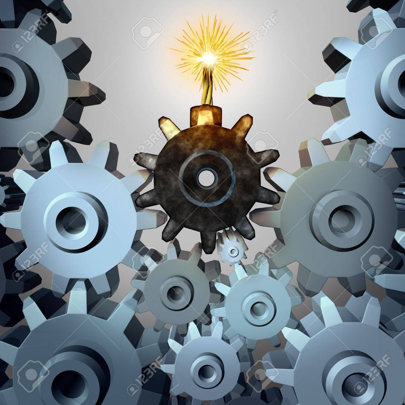 Industry time bomb and financial bubble business concept and metaphor with a group of cogs and gear wheels with one cog in the shape of an exploding device as a symbol of investing danger and inherent risk Stock Photo - 20403932