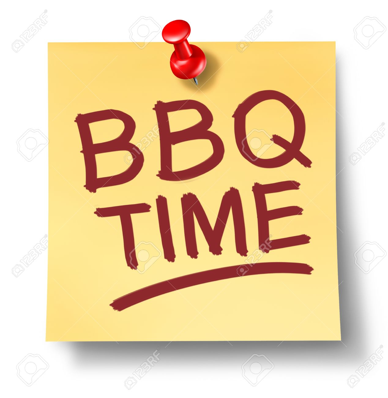 Barbecue Office Note Saying Bbq Time On A White Background With