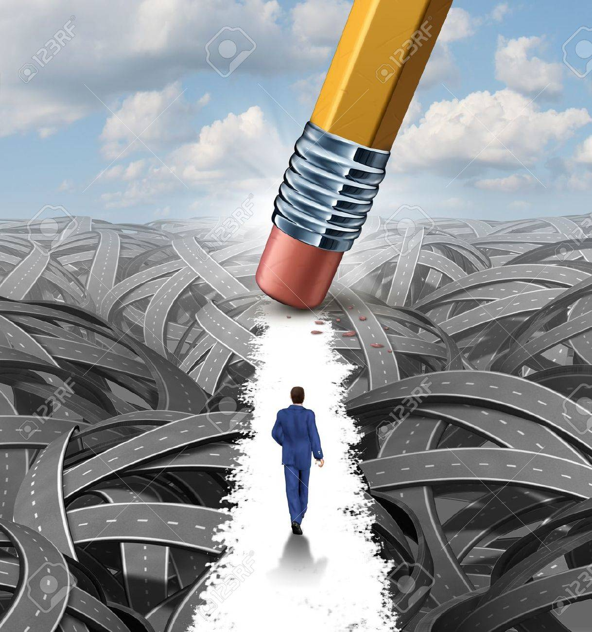 Clear the confusion leadership solutions with a businessman walking through a group of tangled roads opened up by a pencil eraser as a business concept of innovative thinking for financial success - 20688382