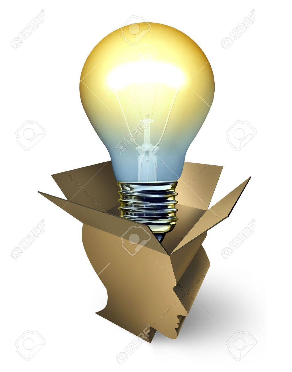 Open thinking business creativity concept with an opened cardboard box shaped as a human head  and an illuminated light bulb emerging out as an icon of new ideas success through inspiration and intelligence Stock Photo - 20688495